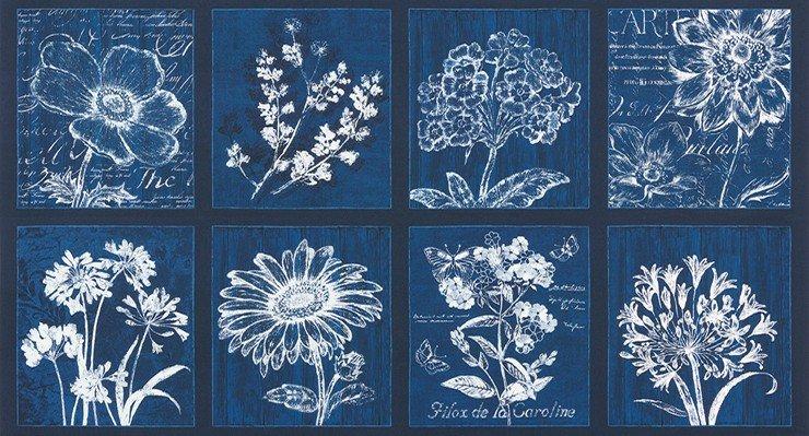Botanical Beauty 2 - Indigo - 24 repeat