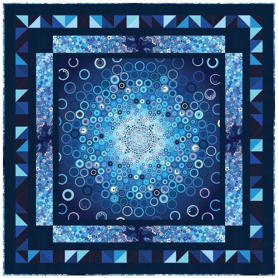 Bursting Bubbles Quilt Top Kit - Blue - 66 square