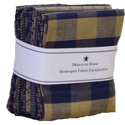 Dunroven House Homespun Fat Quarter Bundle - Navy/Tan
