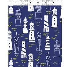 Nautical Fish - Lighthouses on Navy Background
