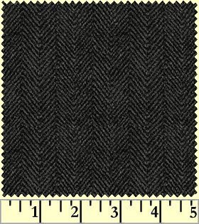 Woolies Flannel - Black Herringbone