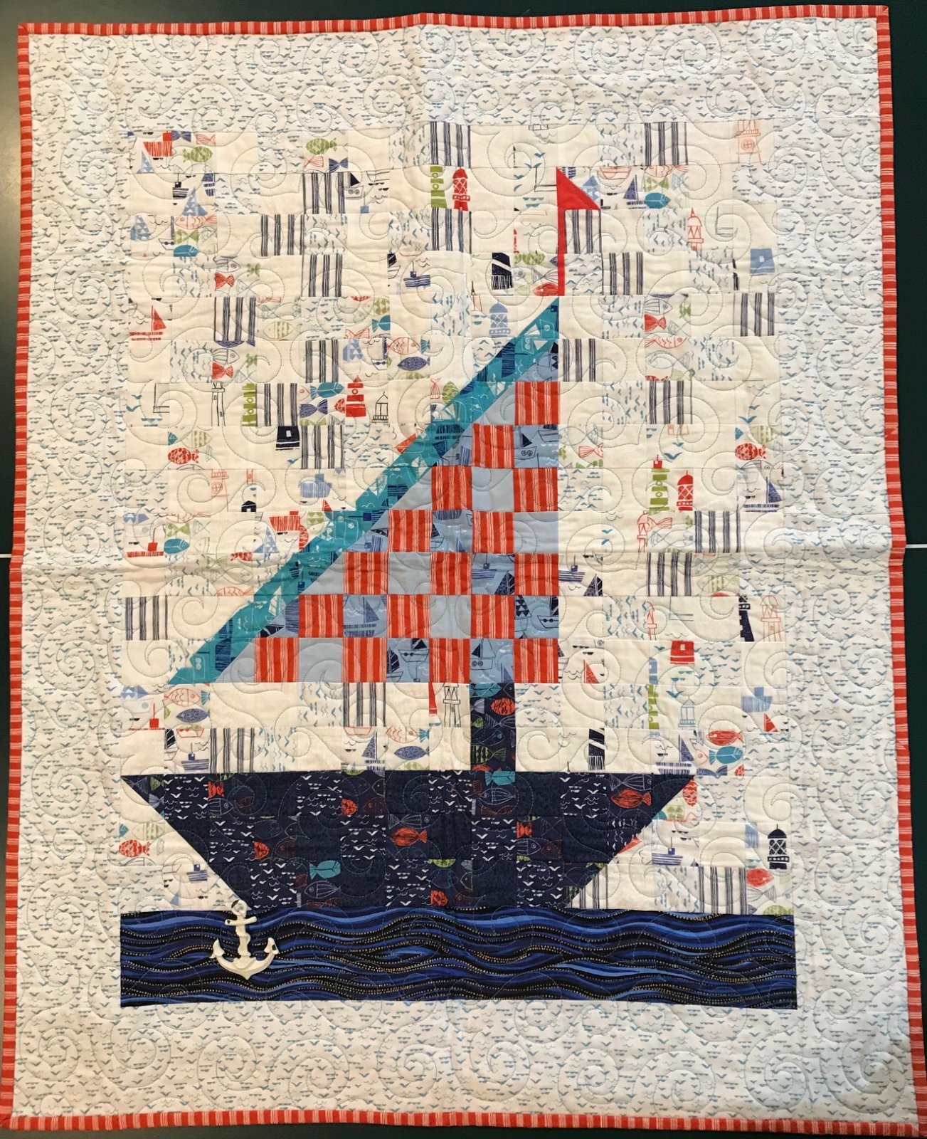 Sweet Sailing Twin Quilt Kit w/ Backing - 77 x 95