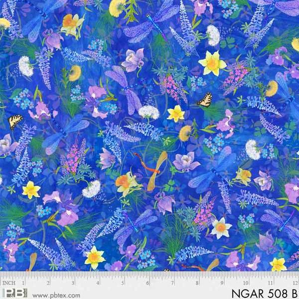 Nature's Garden - Floral with Dragonflies on Blue