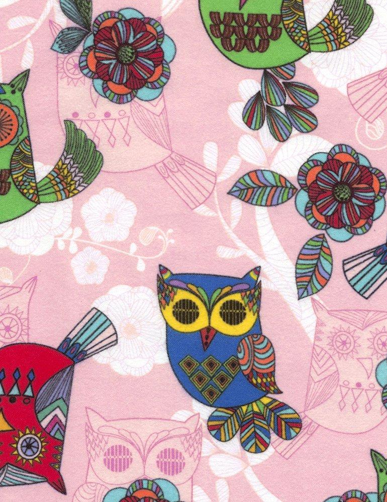 Owls Flannel - Pink