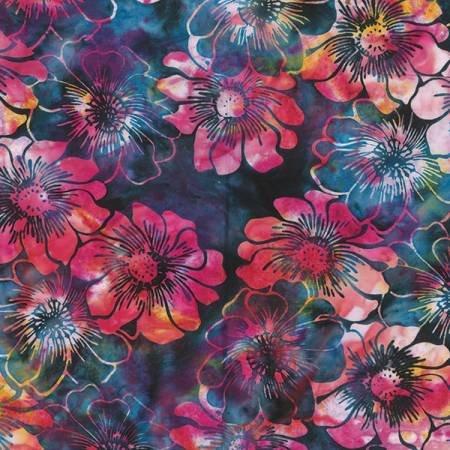 Holly Hock Bali Batik - Blue/Purple/Pink Flowers