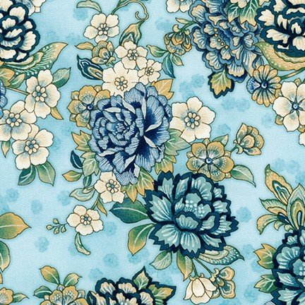 Calista Pearl - Large Floral on Blue