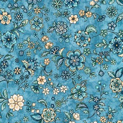 Calista Pearl - Blue Medium Tossed Flowers