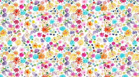 Spring Fling - Tossed Flowers on White