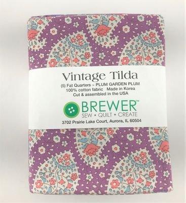 Vintage Tilda Plum Garden Plum Fat Quarter Bundle