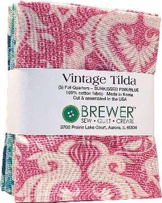 Vintage Tilda Sunkissed Fat Quarter Bundle - Pink/Blue