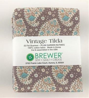Vintage Tilda Plum Garden Nutmeg Fat Quarter Bundle