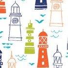 Nautical Fish - Lighthouses on White Background