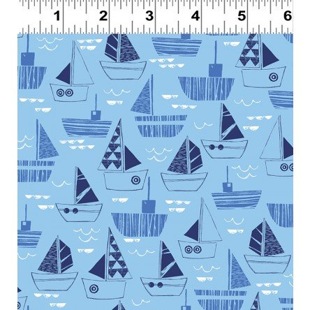 Nautical Fish - Sailboats on Light Blue