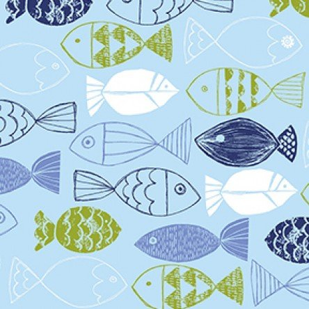 Nautical Fish - Fish on Light Blue Background