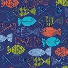 Nautical Fish - Fish on Light Navy Background