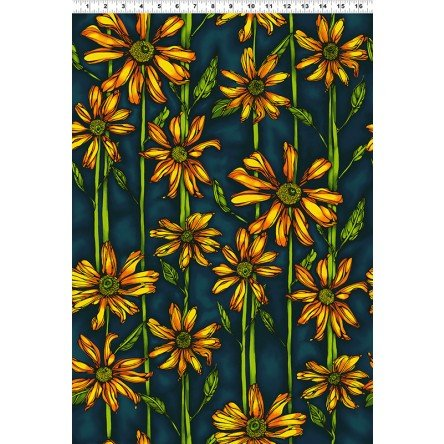Follow The Sun - Dark Teal with Orange Flowers