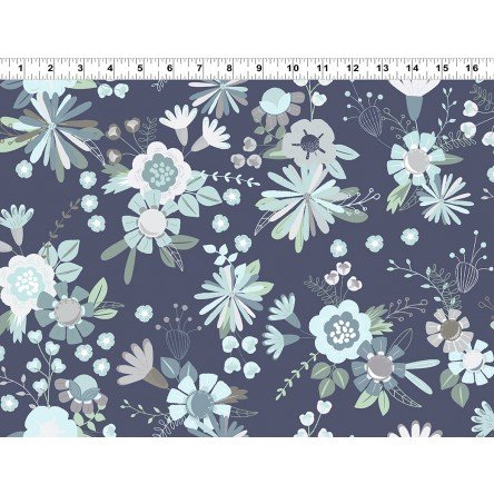 Secret Garden - Light Navy Flowers Large