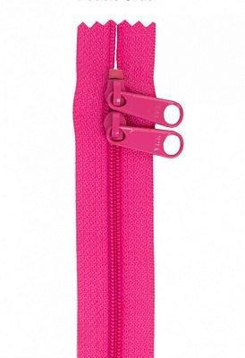 Handbag Zippers, 30 Double Slide-Raspberry