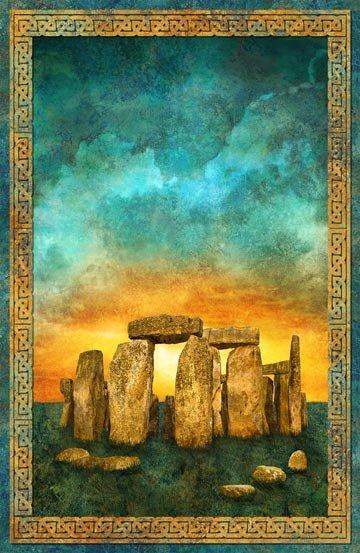 Stonehenge Solstice Teal  Panel