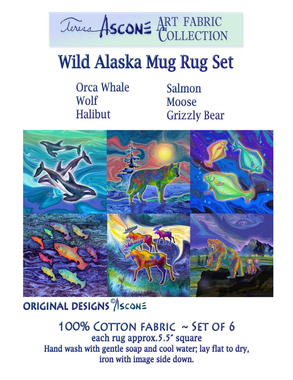T Ascone Wild Alaska Mug Rug Panel