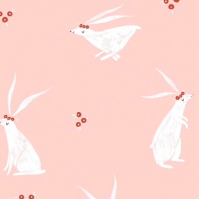 Folkwood Rabbits Pink