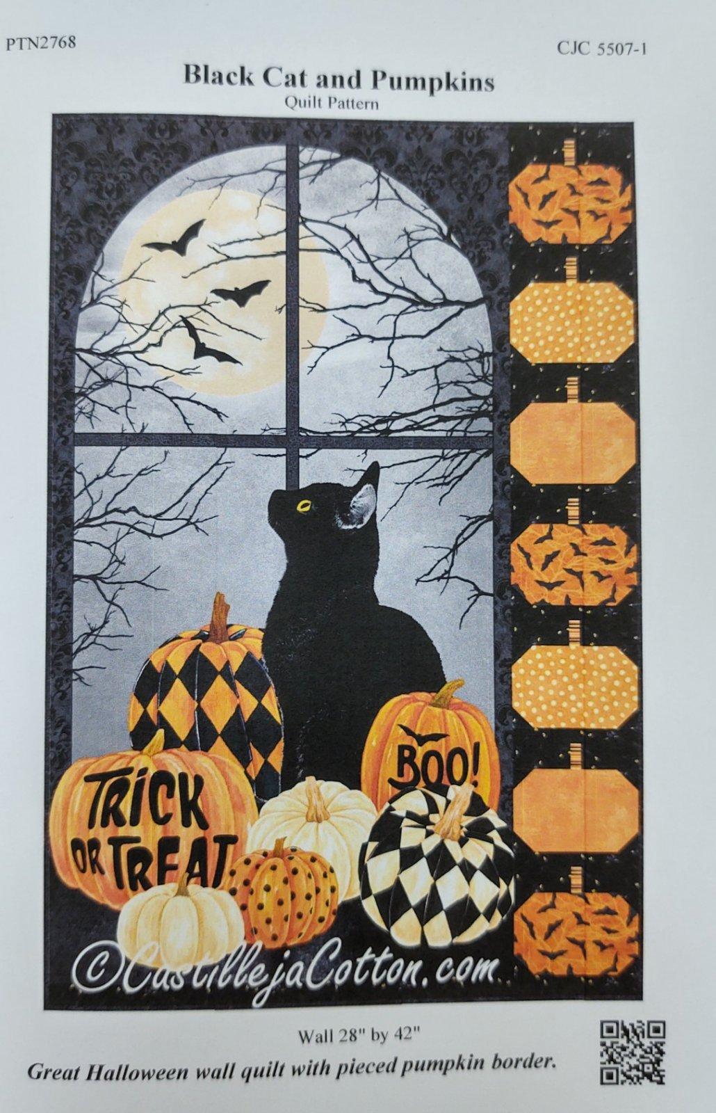 Black Cat & Pumpkins Wall Quilt Kit