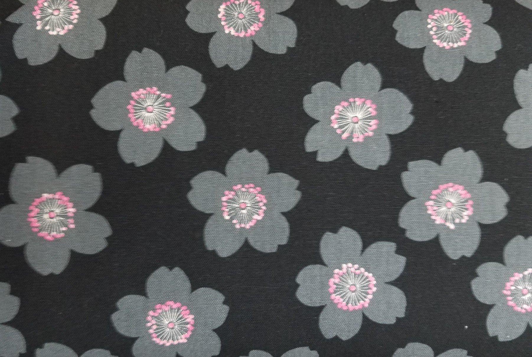 Cosmo Textiles Flowers on Black
