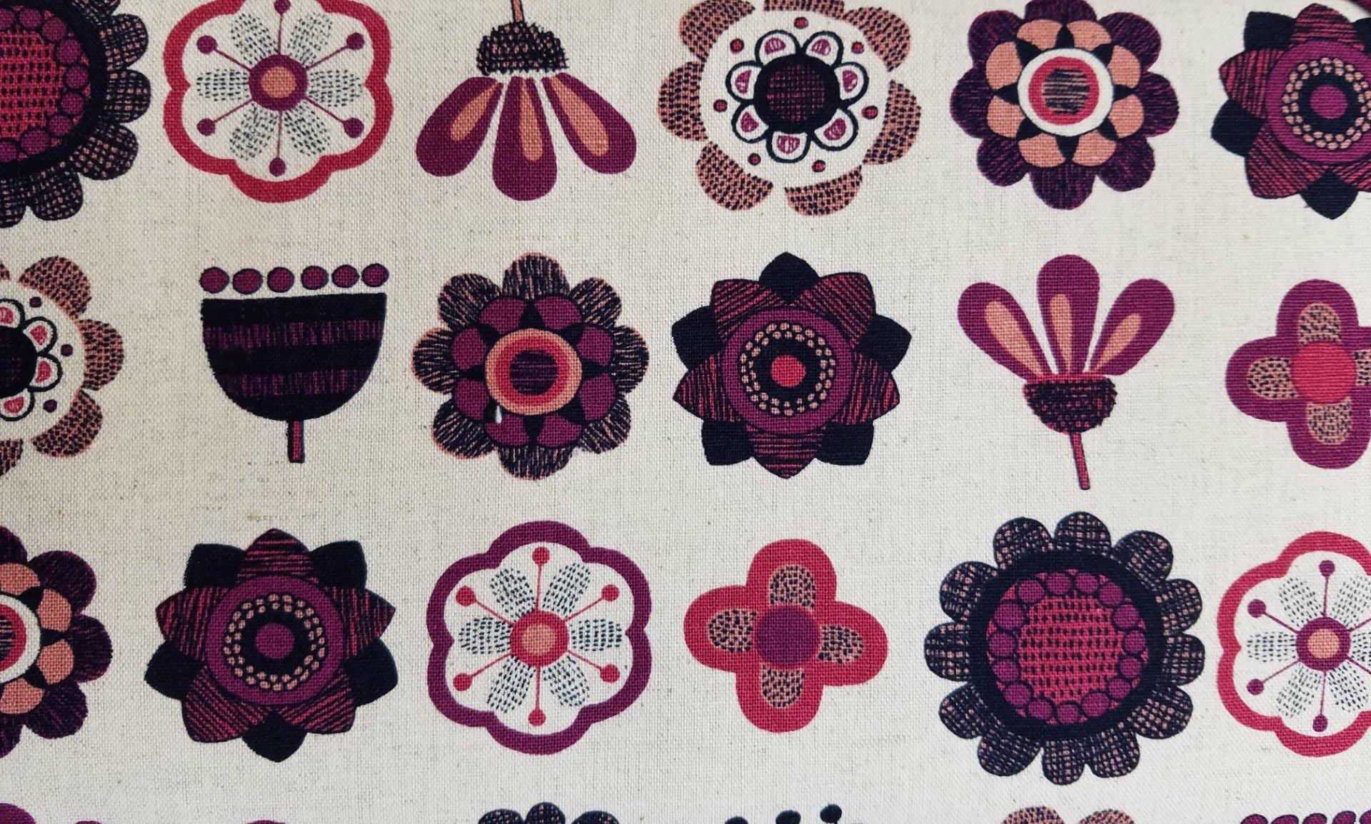 Hishiei Textiles Burgundy Flowers