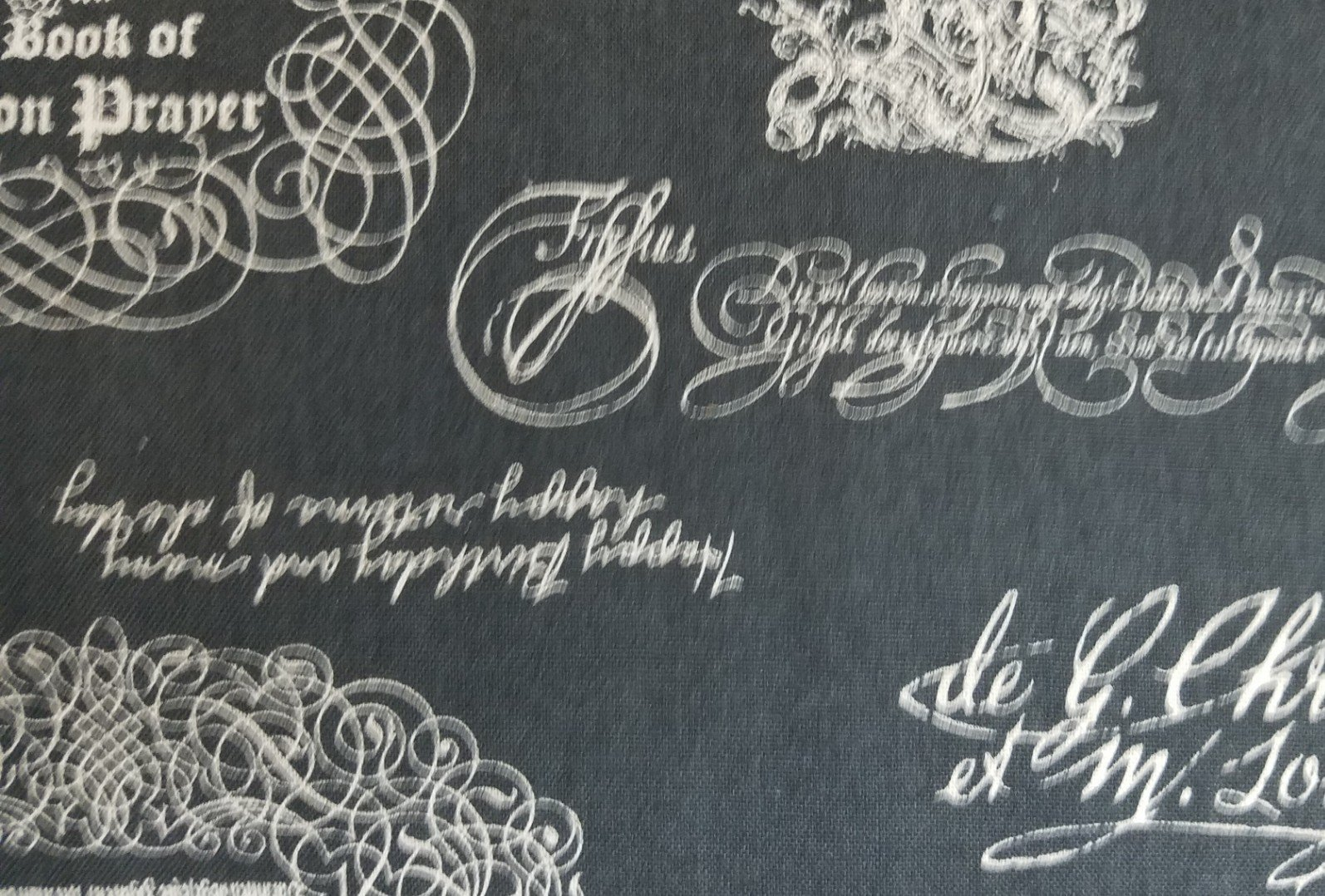 Cosmo Textiles Words on Gray