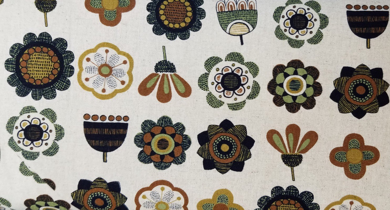 Hishiei Textiles Green Flowers