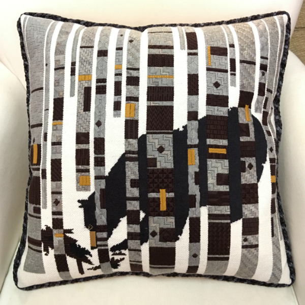 Bear in the Birches Pillow - Finished