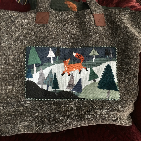 Birds of a Feather Fox Trot finished as a pocket on a Tote