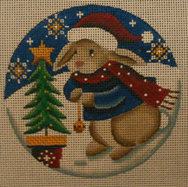 Bunny Decorates the Tree Ornament by Rebecca Wood