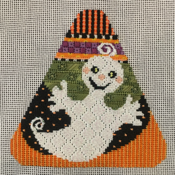 Candy Corn - Ghost from Needle Deeva - stitched