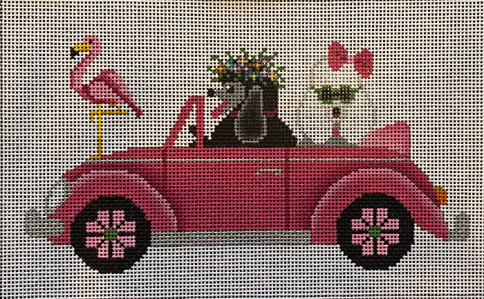 Poodles in a Pink VW Bug from JP