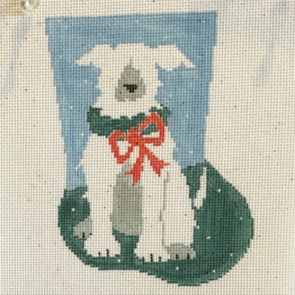 White Dog Mini Stocking from Kathy Schenkel