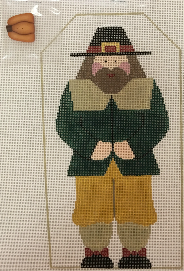 Thanksgiving Pilgrim Man by Kathy Schenkel with pumpkin button and stitch guide