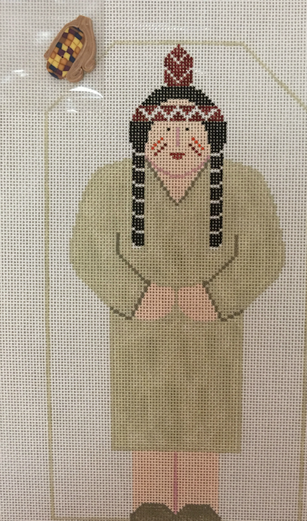 Thanksgiving Indian Lady from Kathy Schenkel with corn button and stitch guide