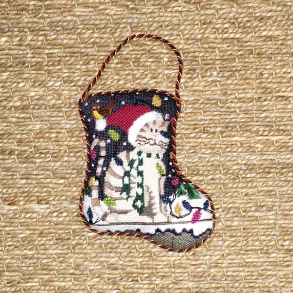 Kathy Schenkel Kitty Mini Stocking - finished