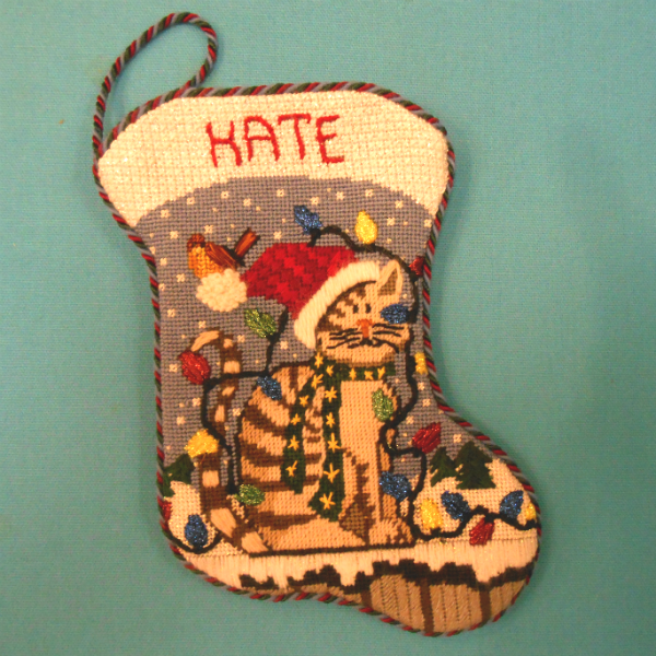 Kitty wrapped in lights Mini Stocking Finished