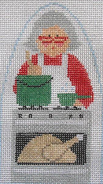 Mrs. Claus cooks dinner