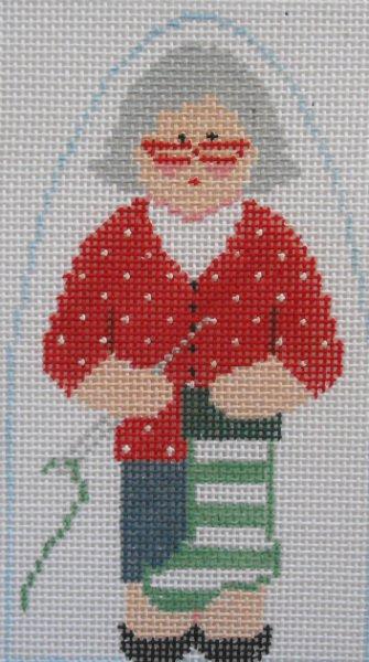 Mrs Claus knits stockings