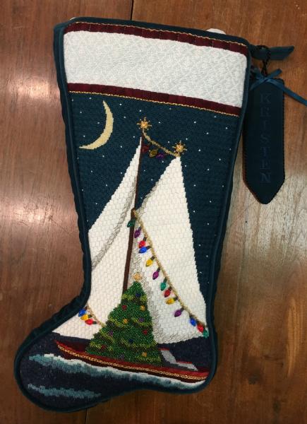 Melissa Shirley Sailboat Stocking - finished