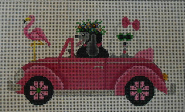 Poodles drive a Pink Bug from JP Needlepoint