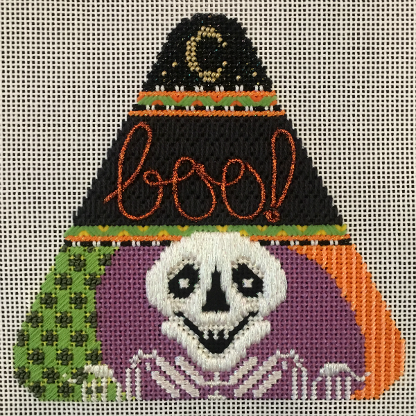 Candy Corn - Sam the Skeleton from Needle Deeva - stitched