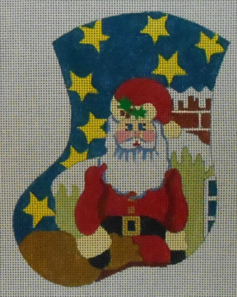 Santa on the Rooftop Mini Stocking from The Meredith Collection