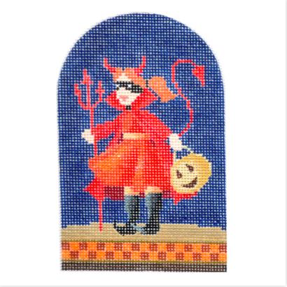 Halloween Devil Trick or Treater from Kirk & Bradley + Stitch Guide by June McKnight