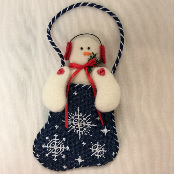 Snow mini sock with snowman - finished (canvas by Kathy Schenkel)