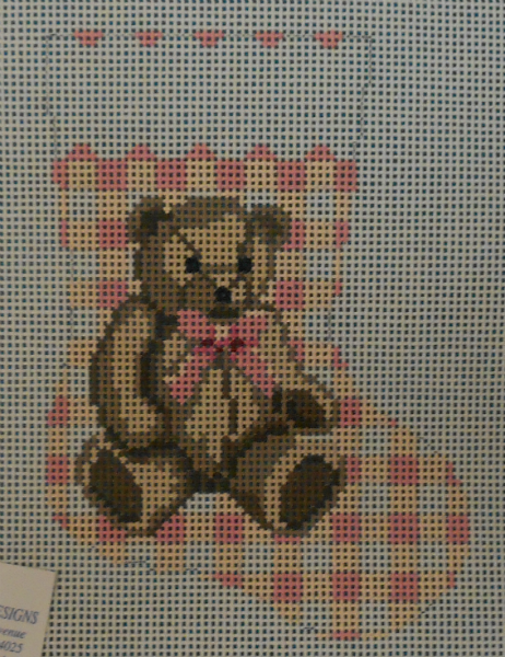 Teddy Bear on Pink Houndstooth Mini Stocking from Susan Roberts