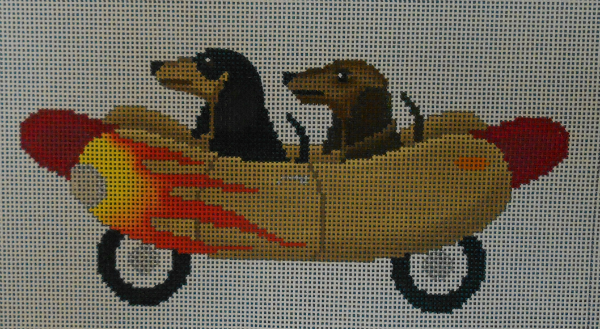 Wienermobile with Weener Dogs from JP Needlepoint